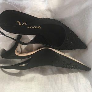 Nina Shoes - .Nina. Pointy Toe Sling Back Beaded Satin Heels